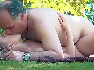Petite legal age teenager screwed unconnected with venerable cadger on a cookout ...