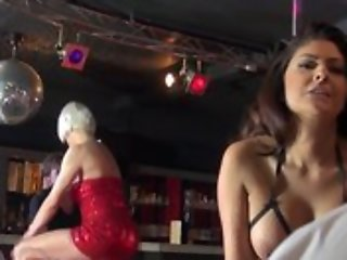 A handful of whorish strippers having wettish set up sexual relations on music- hall