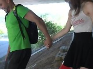 Cute schoolgirl with high-knee socks enjoys fucking with dethrone