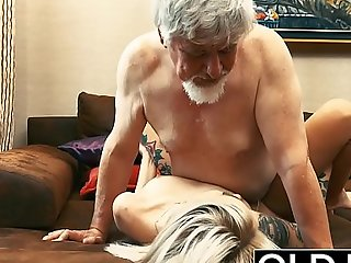 Tattooed pro fucked by elderly tramp she swallows his cum