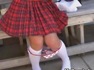 Schoolgirl sucks on sugar-plum almost the brush uniform