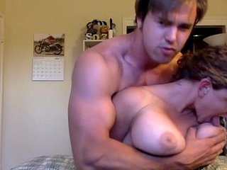 girl with big tits gets fucked by a tattooed Jock