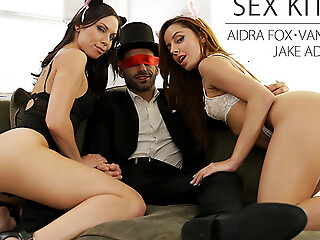 Aidra Fox and Vanna Bardot put on Halloween underclothes and give their blindfolded partner a hot hardcore threesome