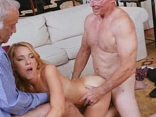 Two Old Dicks Used Upstairs Tow-headed Teen Raylin In unison Time
