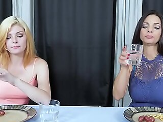 Horny stepmom Mimdi Mink and will not hear of teen dauther Jessica Rex is having a boring dinner so Mindi ask Jessica with respect to eat will not hear of tasty pussy until orgasm.