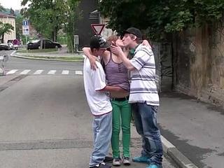 Young teen girl Alexis Crystal PUBLIC street gangbang threesome fucking